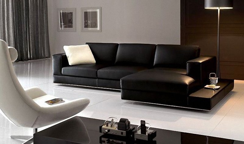 Magnificent Contemporary Black Leather Sofa Best Images About For Contemporary Black Leather Sofas (View 8 of 15)