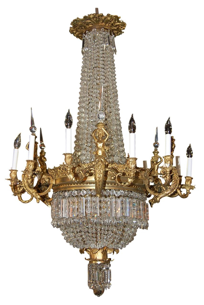 Magnificent French Bronze And Crystal Chandelier Via Ru Lane Pertaining To French Crystal Chandeliers (#11 of 12)