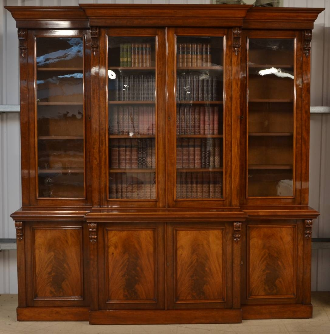 Magnificent Huge Figured Mahogany Regency Break Fronted Library Throughout Huge Bookcase (#12 of 15)