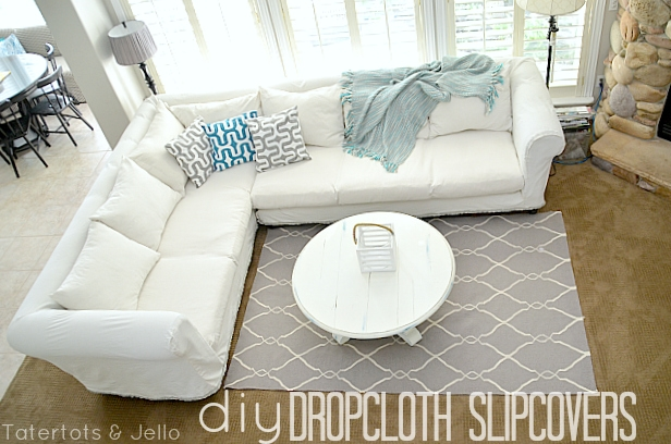 Make A Dropcloth Sofa Sectional Slipcover Tatertots And Jello Throughout Large Sofa Slipcovers (#10 of 15)