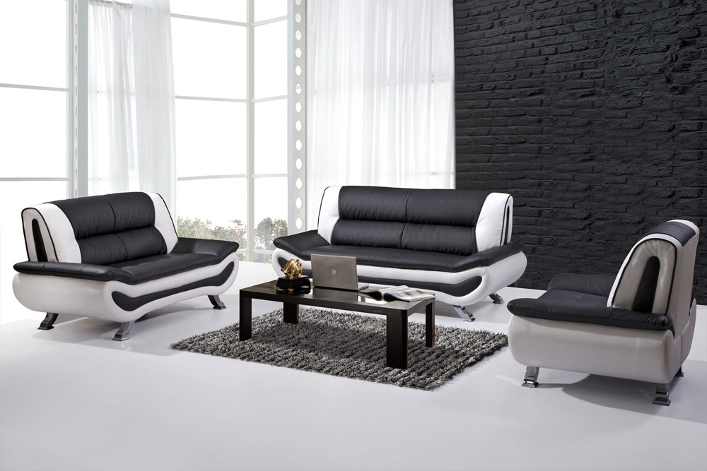 Malvina Modern Leather Sofa Set Inside Black And White Sofas (#10 of 15)