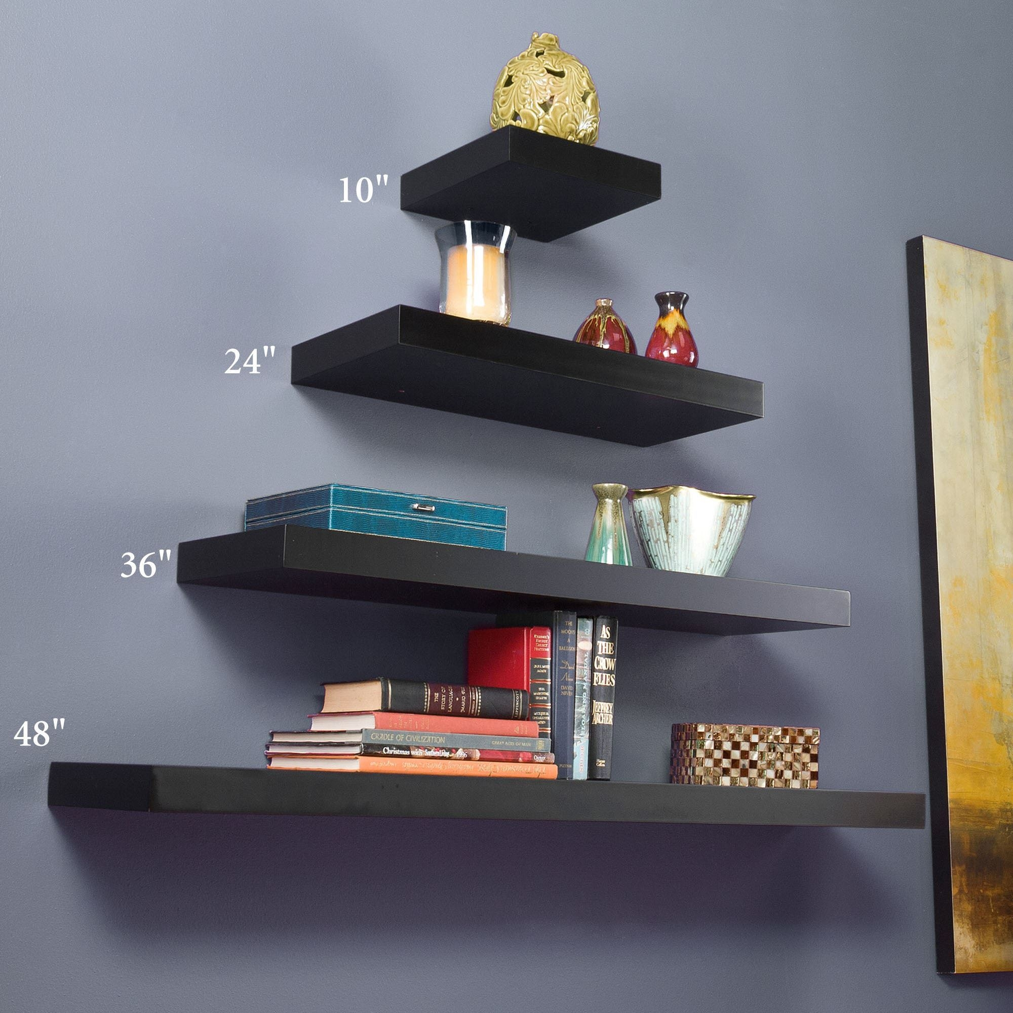 Manhattan Black Wooden Floating Wall Shelves With Floating Wall Shelves (#11 of 12)