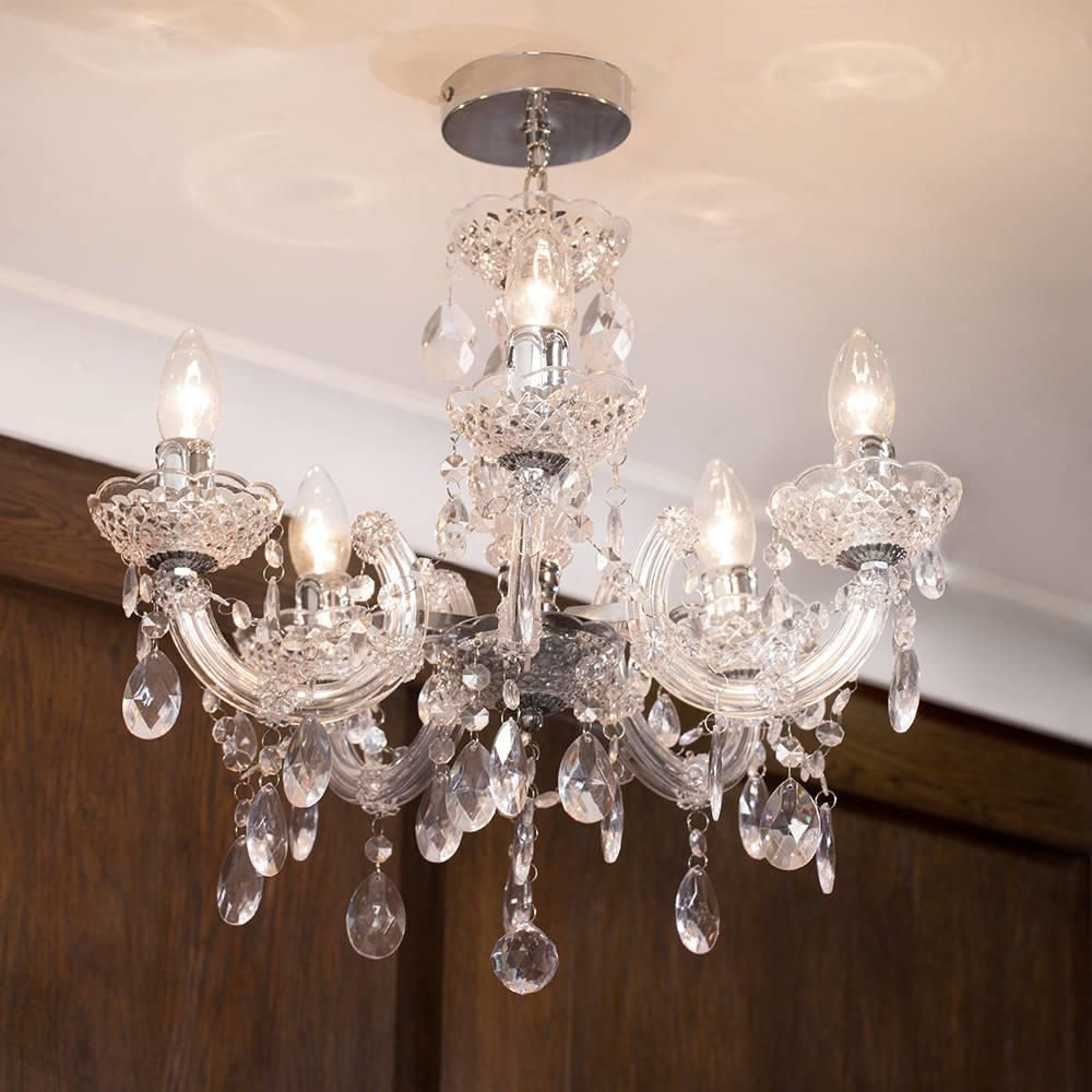 Marie Therese Chandelier 5 Light Dual Mount Chrome From Litecraft Inside Short Chandelier (#6 of 12)