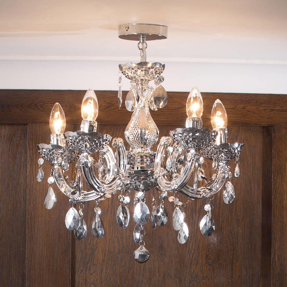 Marie Therese Chandelier 5 Light Dual Mount Silver From Litecraft For Short Chandelier (#7 of 12)