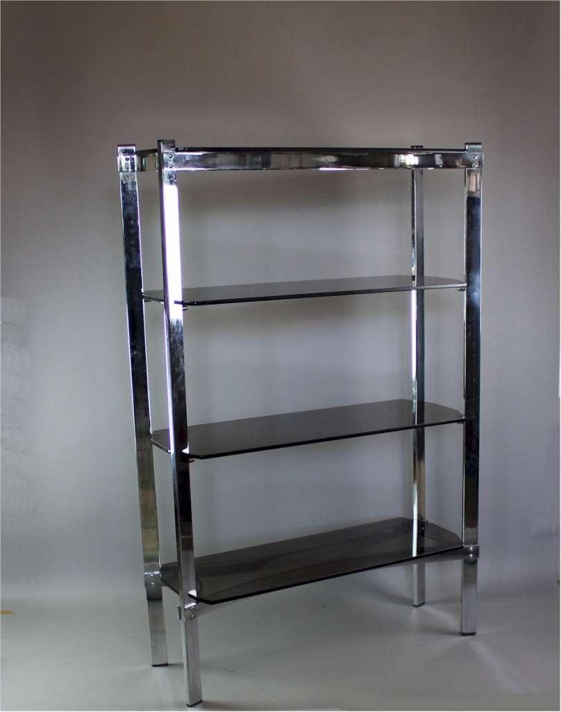 Merrow Associates Chrome Shelf Unit With Four Smoked Glass Shelves For Smoked Glass Shelf (View 10 of 12)