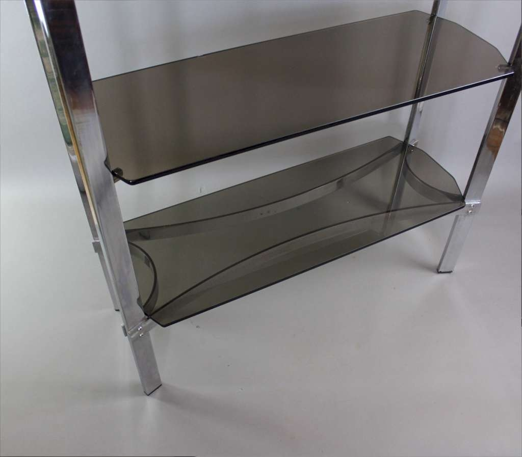 Merrow Associates Chrome Shelf Unit With Four Smoked Glass Shelves For Smoked Glass Shelves (#10 of 15)