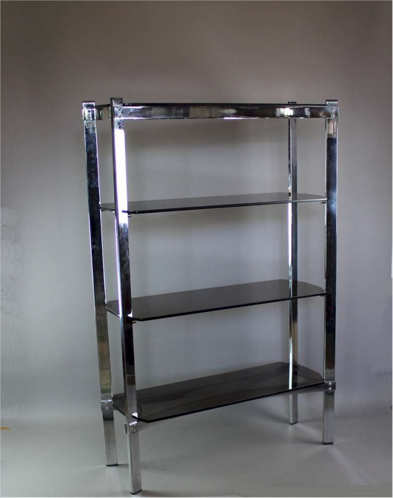 Merrow Associates Chrome Shelf Unit With Four Smoked Glass Shelves In Smoked Glass Shelves (#11 of 15)