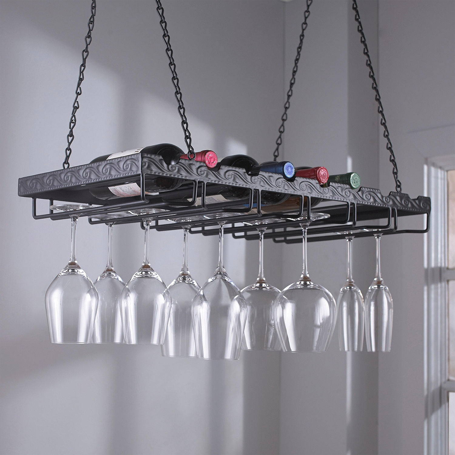 Metal Hanging Wine Glass Rack Hanging Wine Glass Rack Wine Throughout Hanging Glass Shelves From Ceiling (#8 of 12)