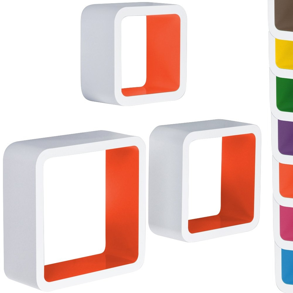 Miadomodo Hrgl04 3 Pcs Wall Shelf Set Two Coloured Whiteorange Within Coloured Floating Shelves (View 10 of 15)