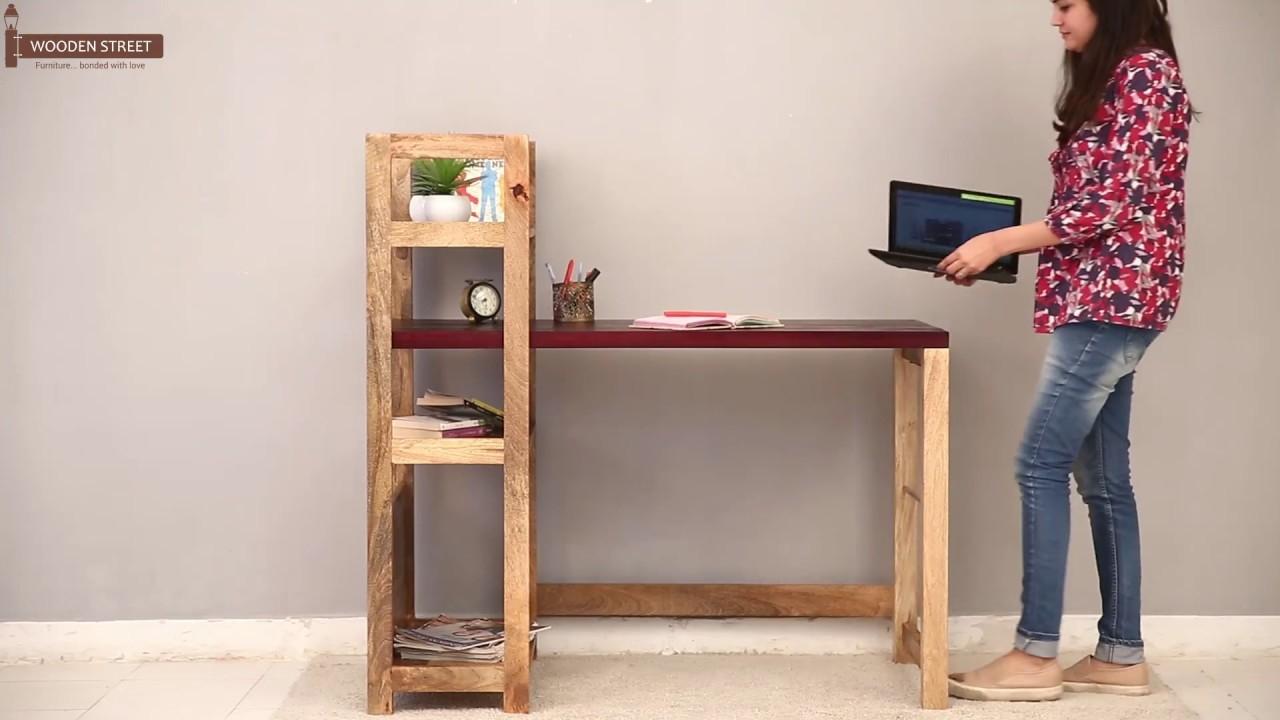 Michelle Study Desk Cum Bookshelf Mahogany Finish Youtube Throughout Study Desk With Bookshelf (#9 of 15)