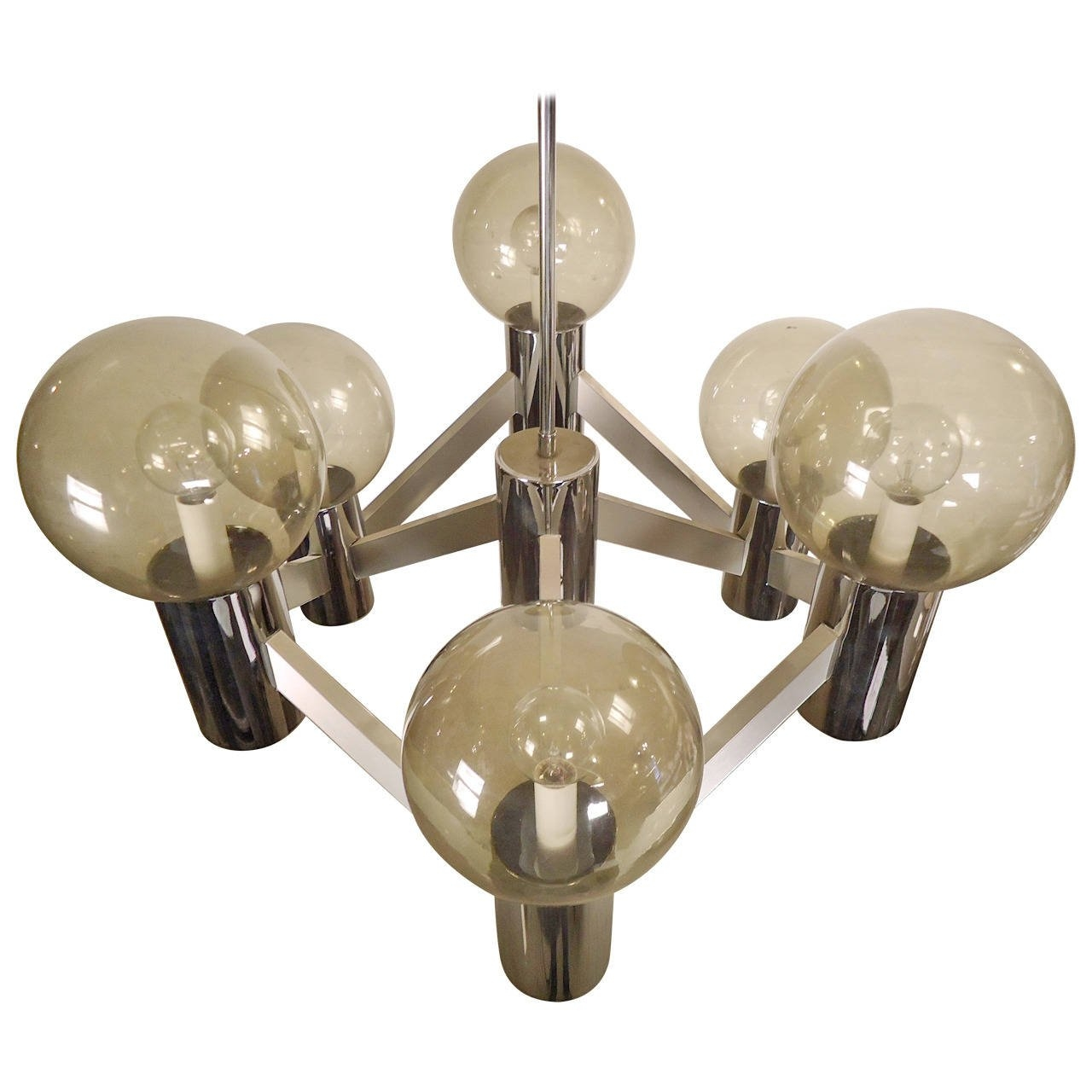 Mid Century Lightolier Smoked Globe Chandelier At 1stdibs Within Chandelier Globe (#10 of 12)