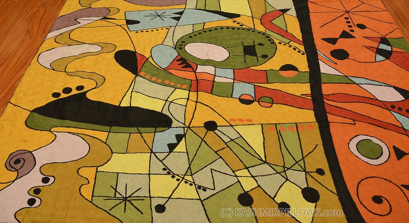 Miro Rugs Abstract Wall Hangings Orange Carnival Accent Wool For Wool Contemporary Area Rugs (#12 of 15)