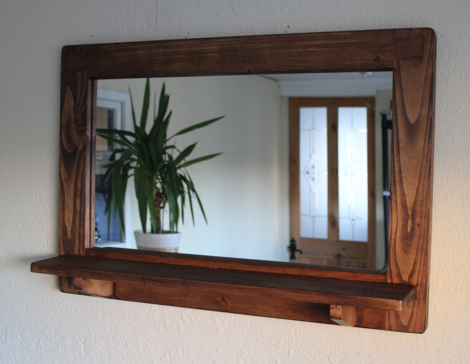 Mirror With Inbuilt Shelf Wood Natural Eco Friendly Dark With Regard To Handmade Wooden Shelves (View 9 of 15)