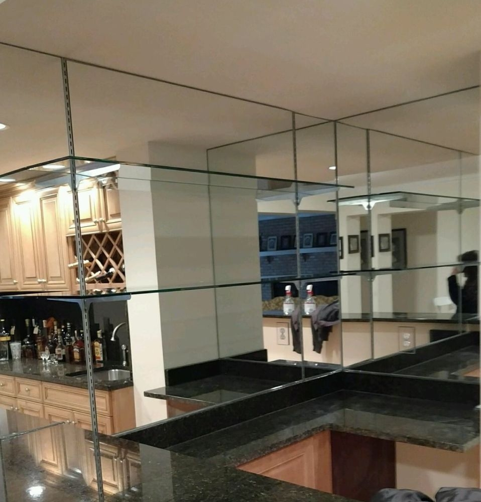 Mirrored Walls With Glass Shelves Are A Beautiful Addition To Any Regarding Glass Shelves For Bar Area (View 9 of 12)