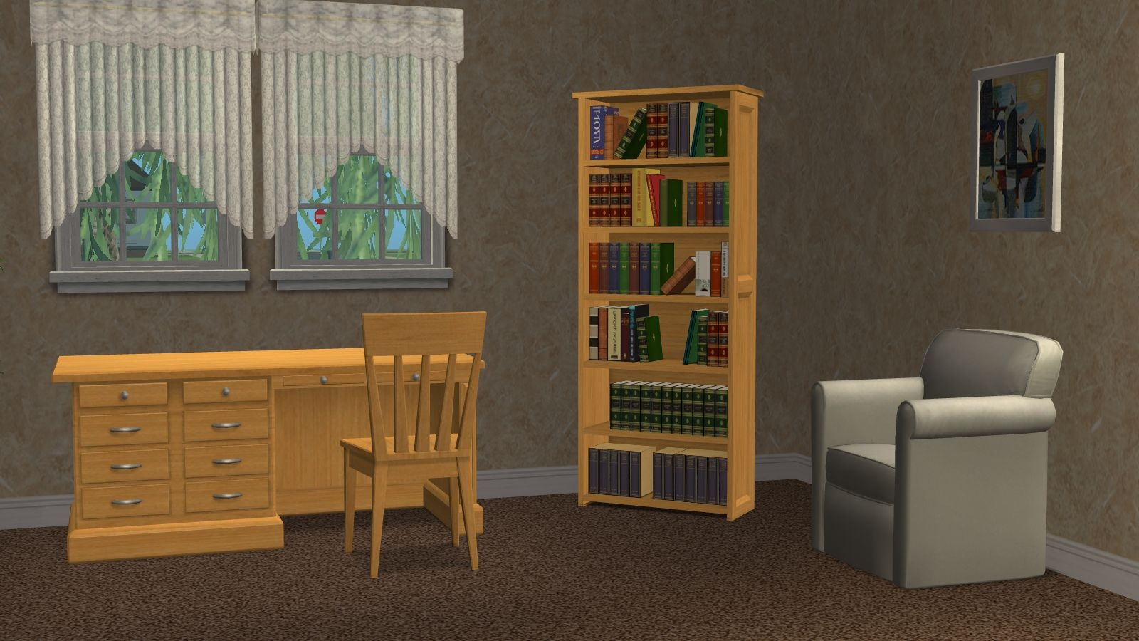 Mod The Sims Even More Recolors Of Bookcase Desk And Chair Inside Desk With Matching Bookcase (#11 of 15)