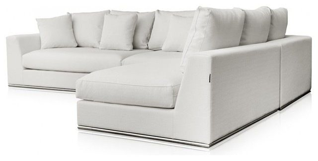 Modani Giovani White Fabric Sofa Modern Sectional Sofas Home For White Fabric Sofas (#8 of 15)