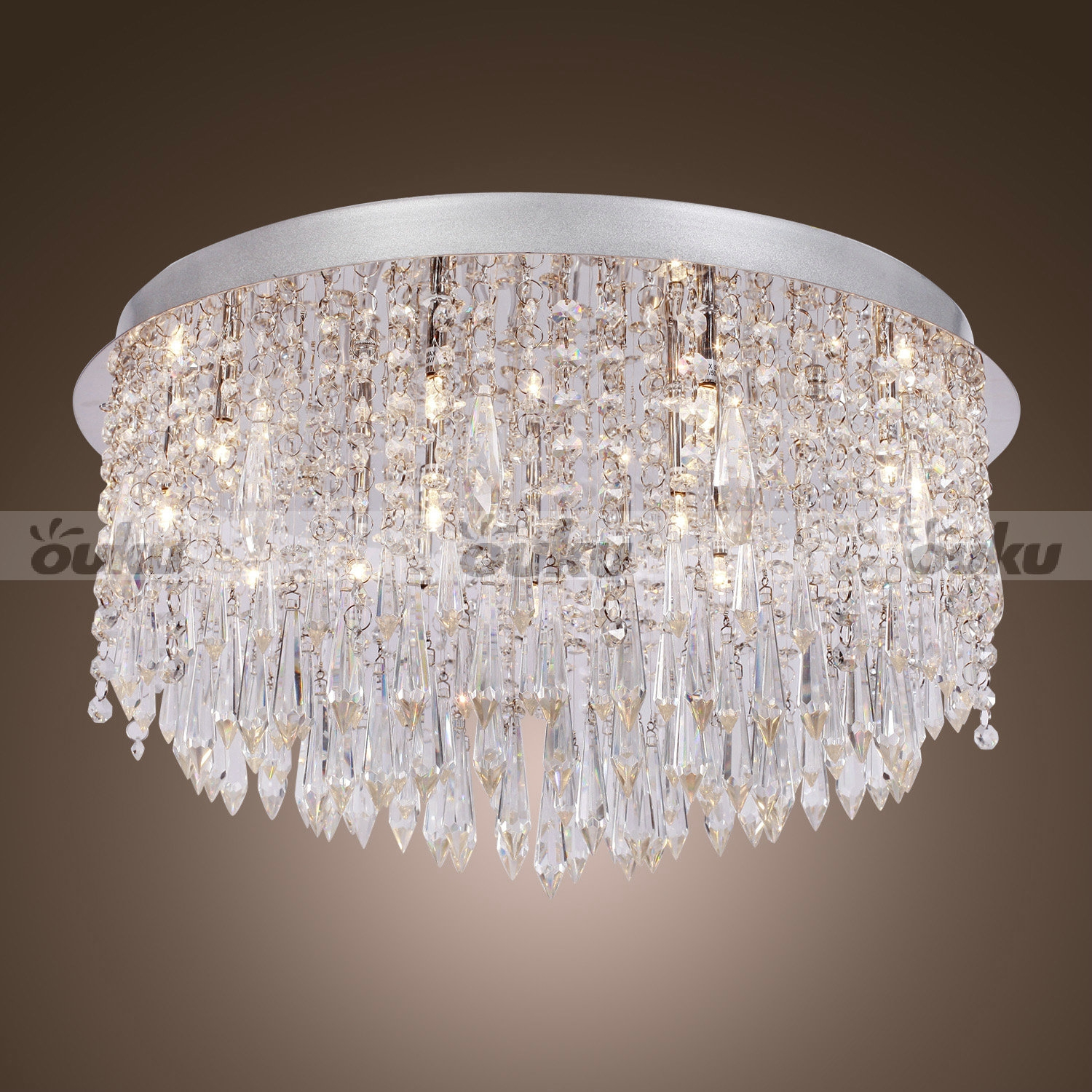 Modern Beaded Ceiling Chandelier Lighting Crystal Lamp Light In Flush Chandelier (#8 of 12)