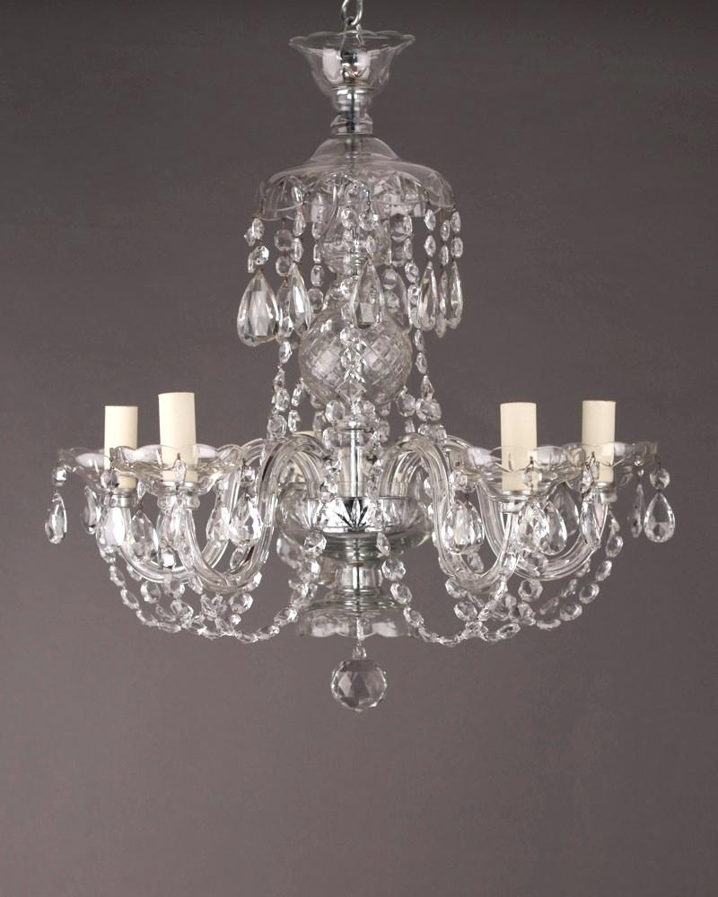 Modern Candle Chandelier French 6 Branch Crystal Chandelier Within Branch Crystal Chandelier (#11 of 12)