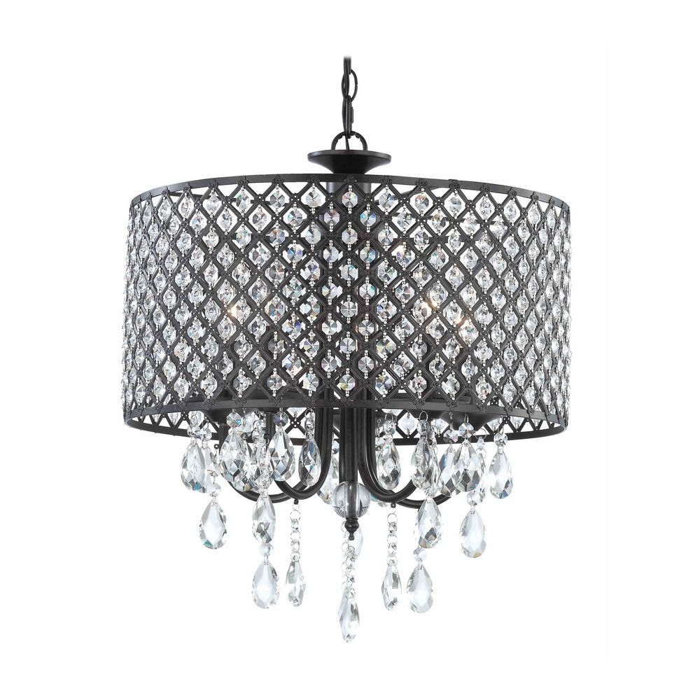 Modern Chandelier With Hanging Crystal And Round Bronze Drum In Bronze Modern Chandelier (#10 of 12)