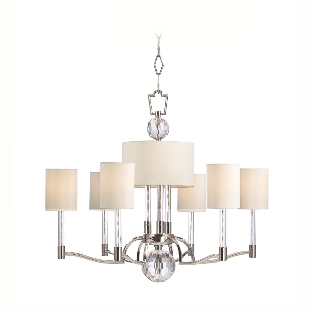 Modern Chandelier With White Shades In Polished Nickel Finish Pertaining To White Contemporary Chandelier (#8 of 12)