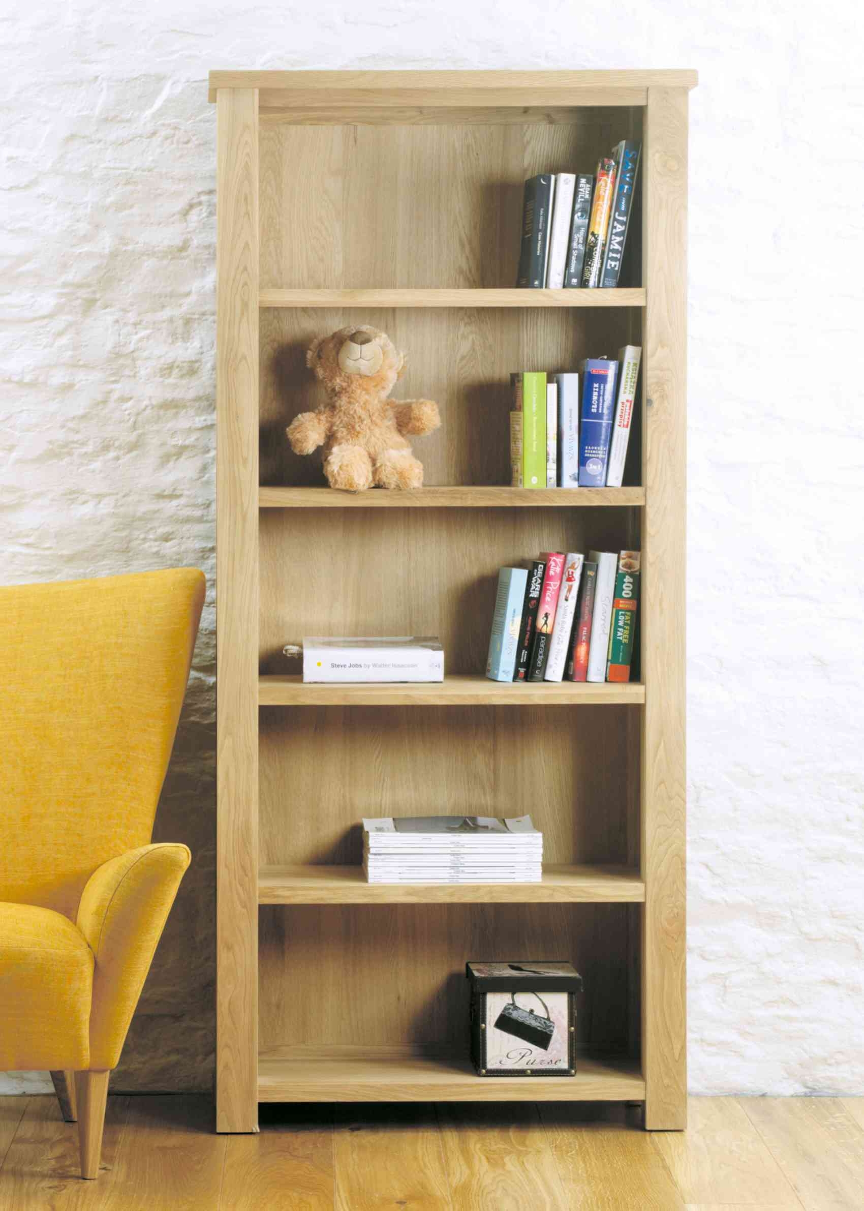 Modern Chunky Oak Large Open Bookcase Hampshire Furniture In Contemporary Oak Shelving Units (View 12 of 15)