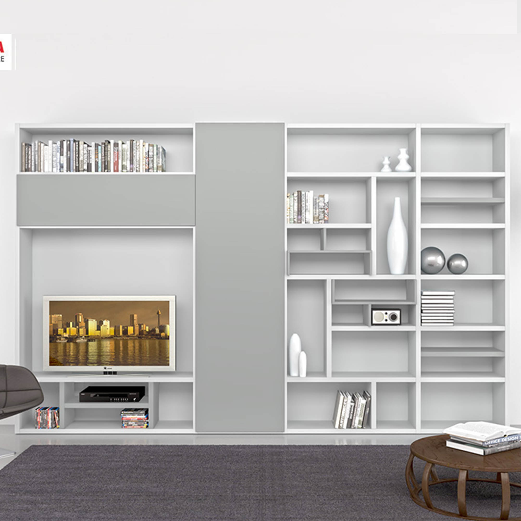 Modern Contemporary Design Bookcases And Wall Units My Italian Regarding Bookcase With Tv Unit (#10 of 15)