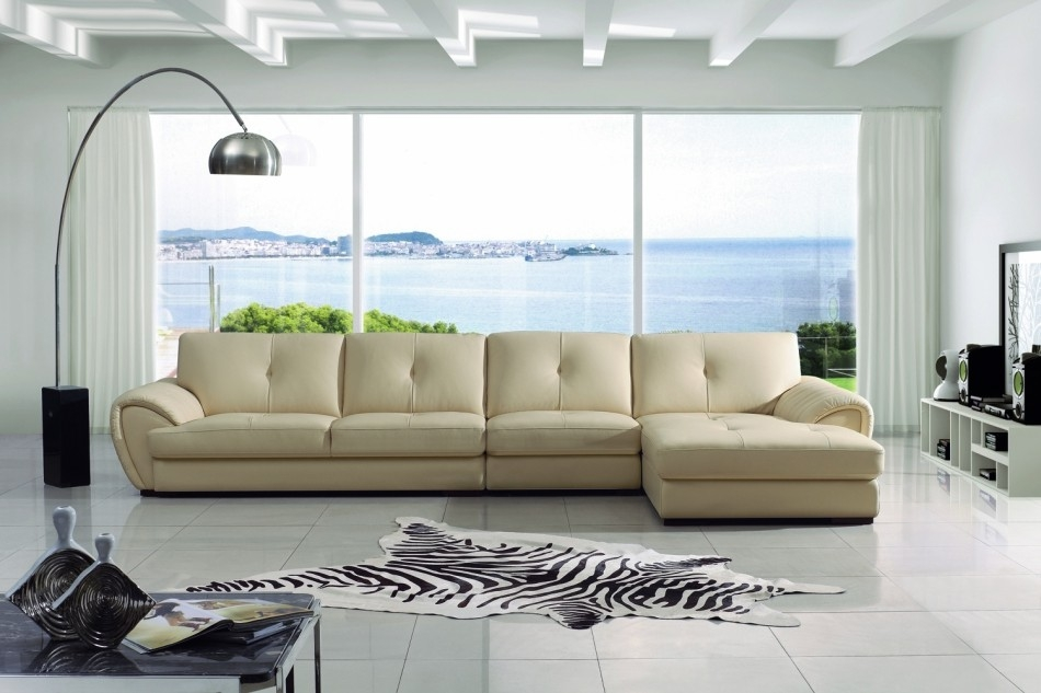 Modern Cream Leather Sectional Sofa With Cream Sectional Leather Sofas (#12 of 15)