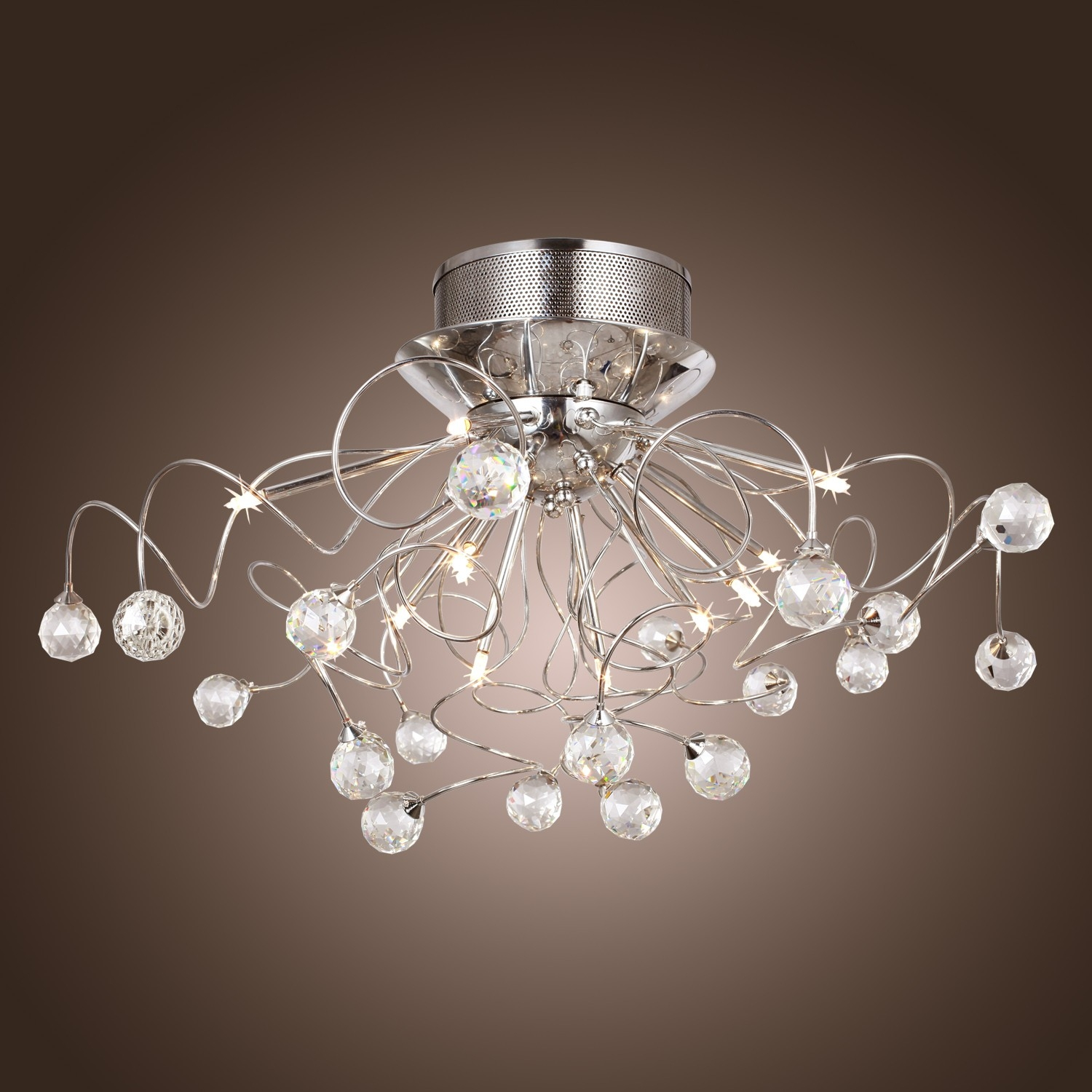 Modern Crystal Chandelier With 11 Lights Chrom Flush Mount Throughout Chandeliers For Hallways (#11 of 12)