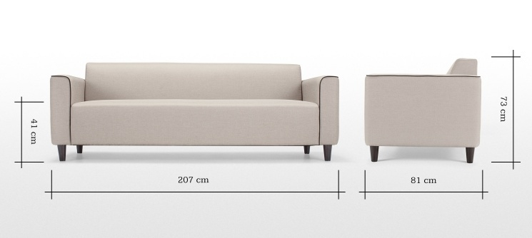 Modern Fabric 3 Seater Sofa For Officehotel Hedda Buy 3 Seater With Modern 3 Seater Sofas (#11 of 15)