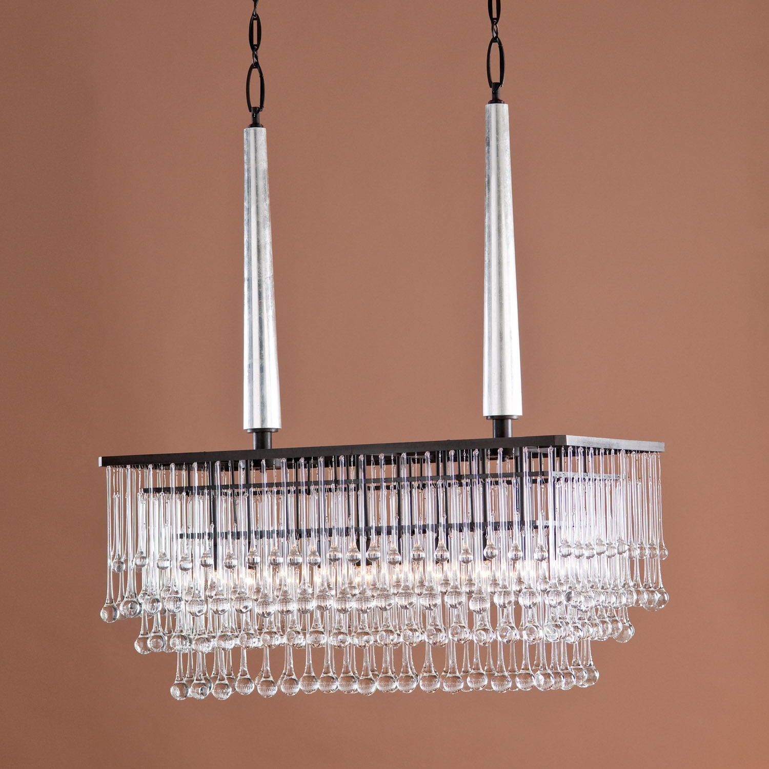 Modern Hanging Rectangular Chandelier With Bronze Frame And Pertaining To Bronze Modern Chandelier (#11 of 12)
