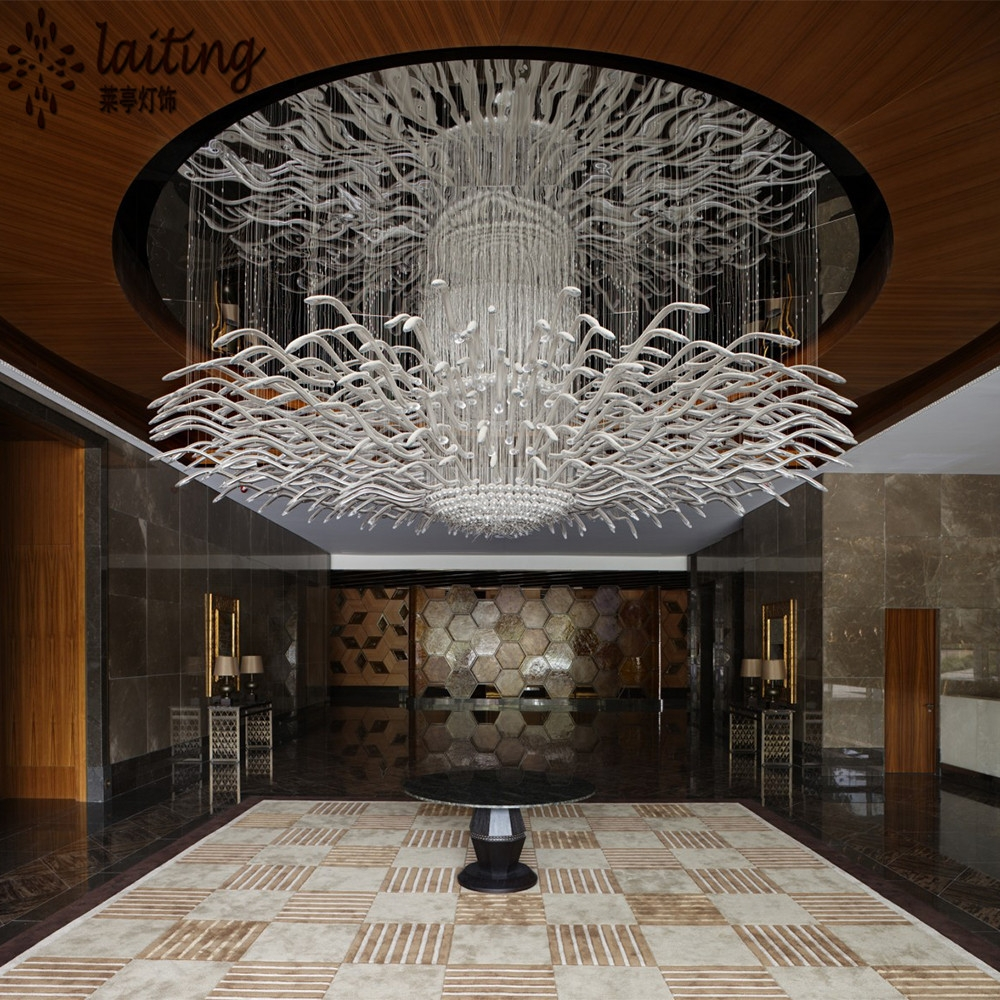 Modern Hotel Lob Custom Made Chandelier Light For Low Ceiling Within Hotel Chandelier (View 7 of 12)
