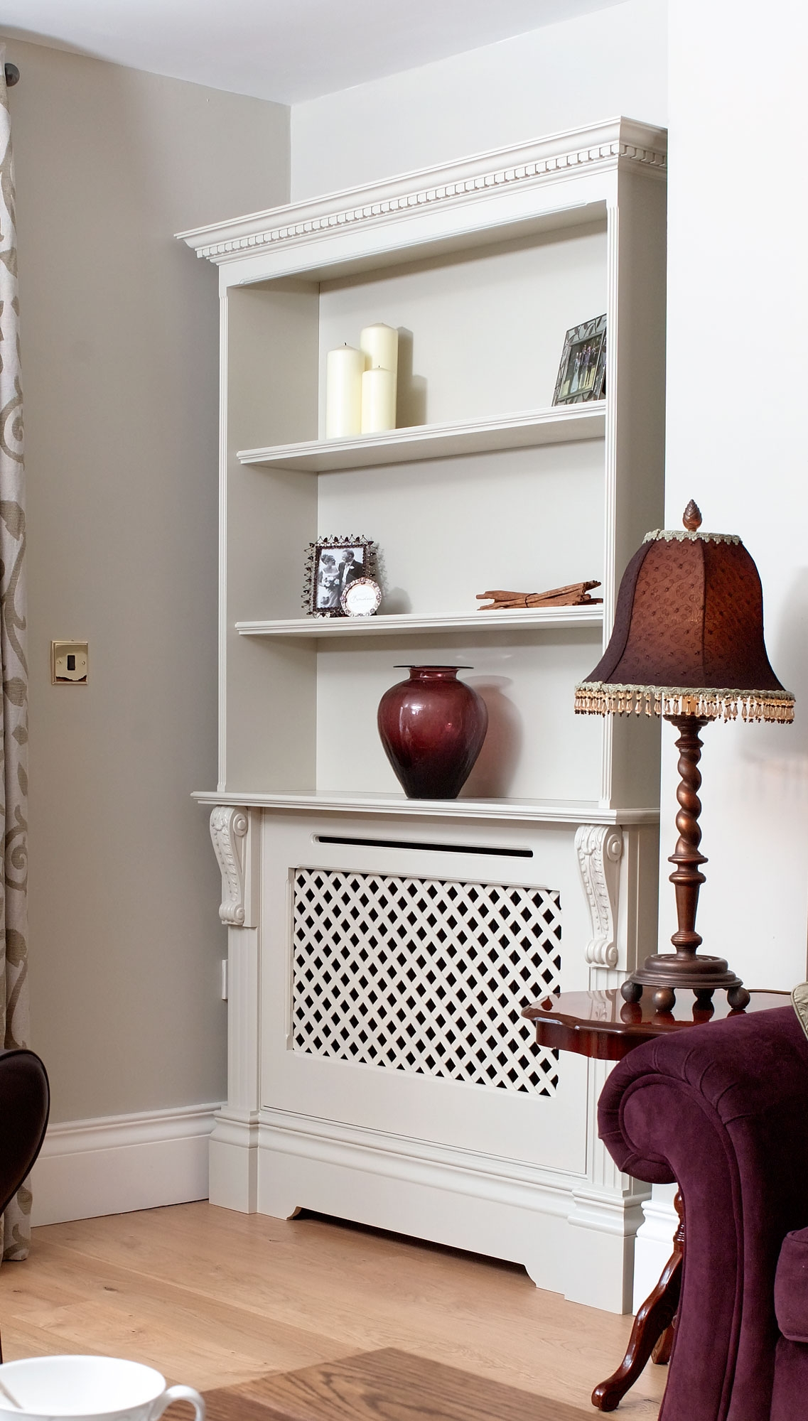 Modern Interior Decorating With Colorful Radiators And Attractive Throughout Radiator Cover Bookshelf (#12 of 15)