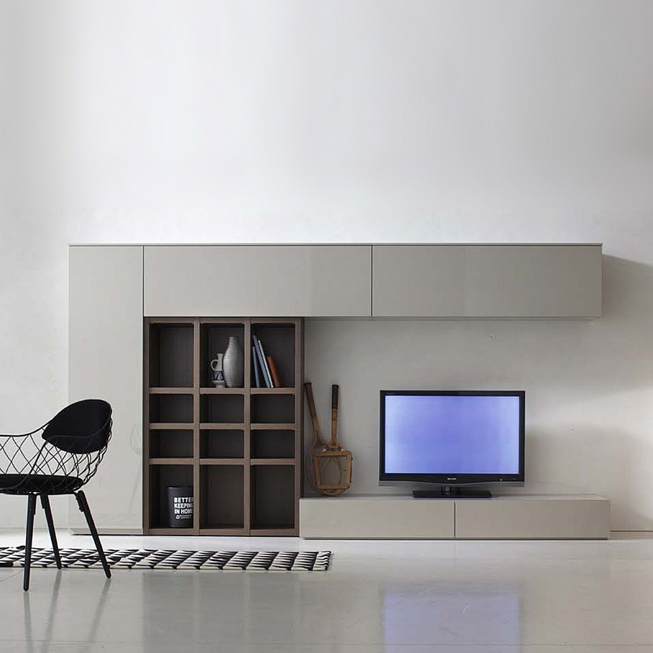 Modern Italian Tv Media Unit Grey Wood Santa Lucia Untis For Bespoke Tv Stands (View 11 of 15)