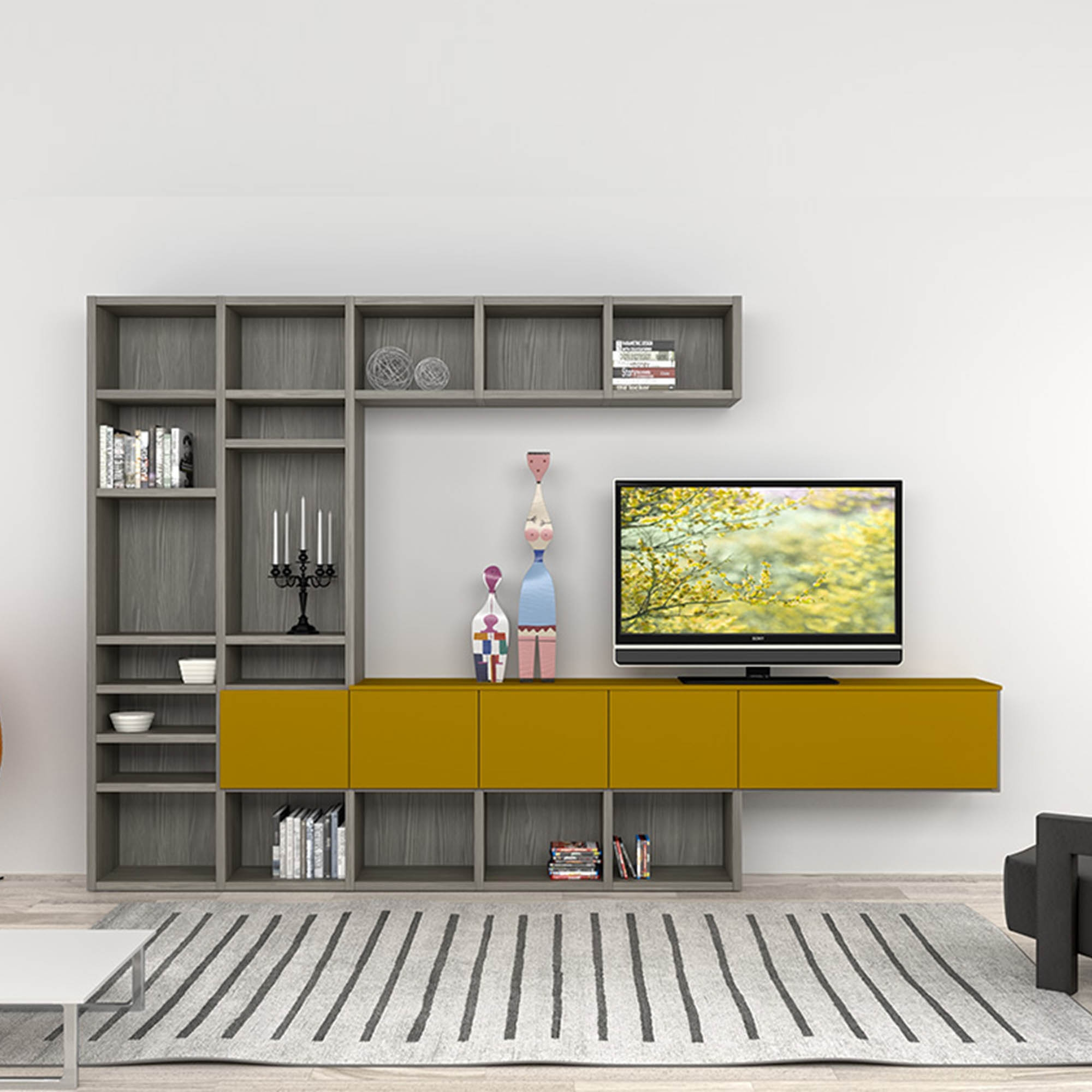 Modern Italian Tv Stand In Composition Of Grey And Mustard Colours Intended For Bookcase And Tv Unit (#8 of 15)