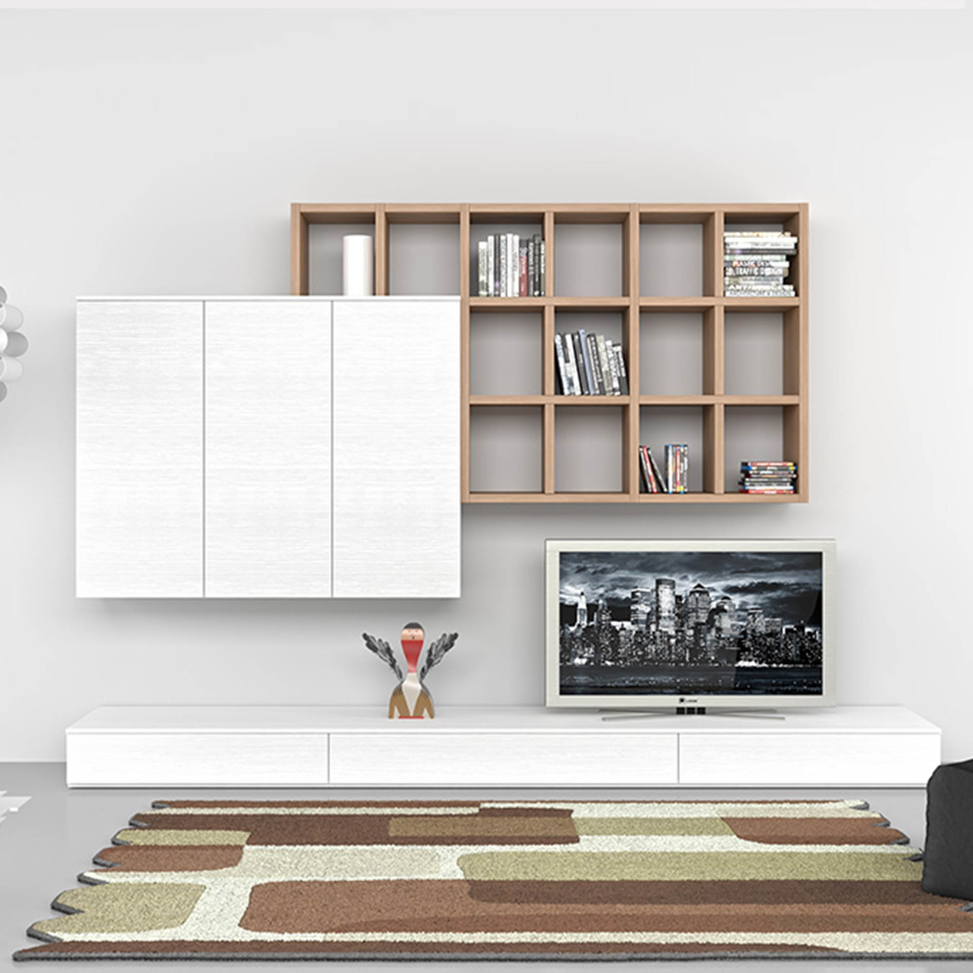 Modern Italian Tv Unit Bianco Mobilstella Contemporary Design Within Bookcase With Tv Unit (View 11 of 15)