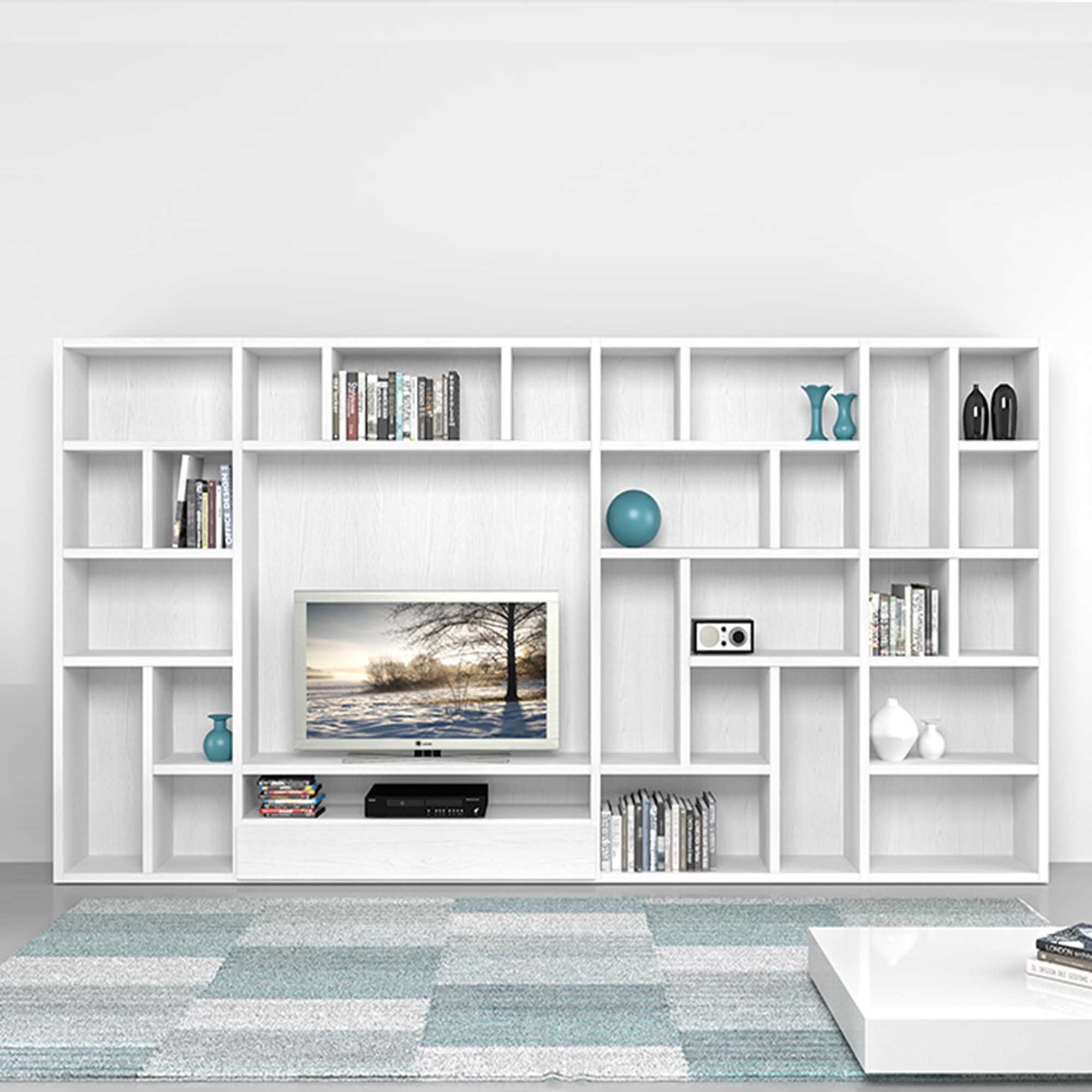 Modern Italian Tv Unitlibrary Poral Mobilstella L 3332 H In Bookcase With Tv Unit (#12 of 15)