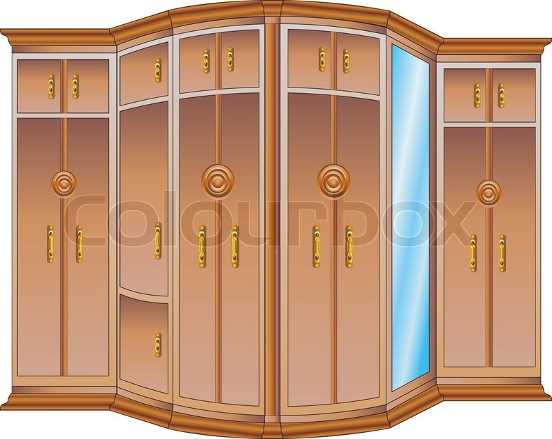 Modern Large Wooden Wardrobe With Mirror And Carved Handles For Large Wooden Wardrobes (#14 of 15)