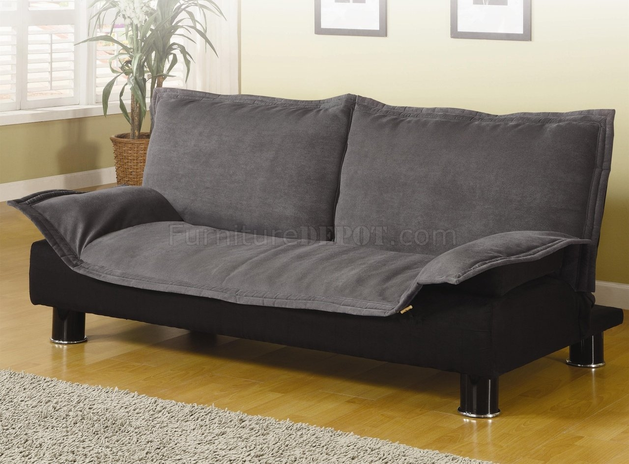 Modern Microfiber Convertible Sofa Bed 300177 Greyblack Within Convertible Sofa Bed (#10 of 15)