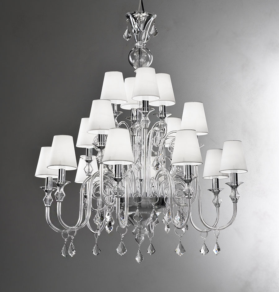 Modern Murano Chandelier L16k Clear Glass Murano For Modern White Chandelier (#9 of 12)