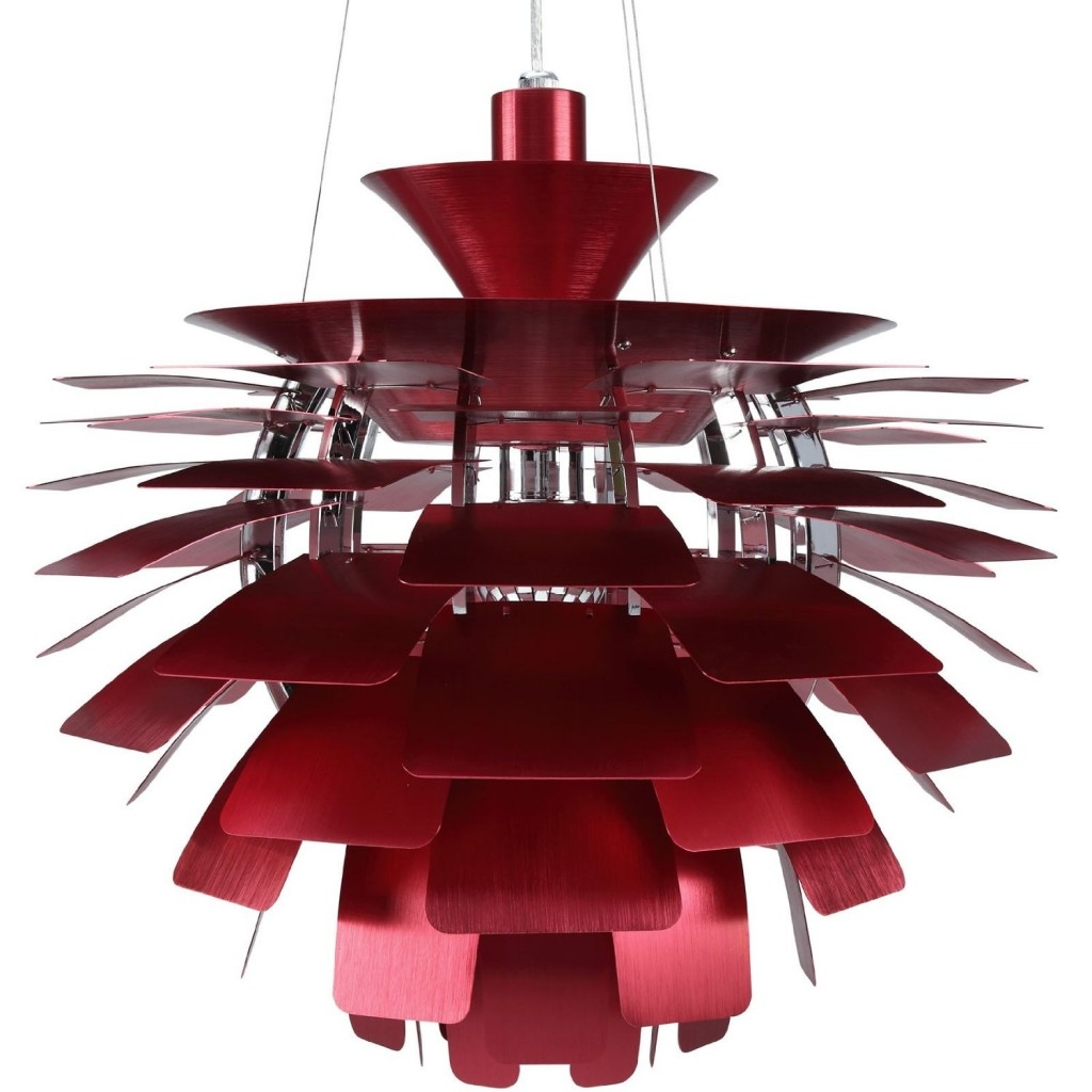 Modern Red Chandelier 41041 Brushed Aluminum Petals Artichoke Throughout Modern Red Chandelier (#7 of 12)