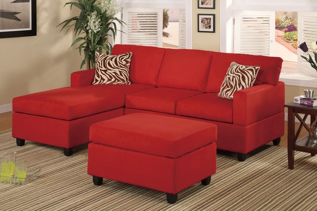 Modern Small Red Microfiber Sectional Sofa Reversible Chaise Ottoman Throughout Red Microfiber Sectional Sofas (#9 of 15)