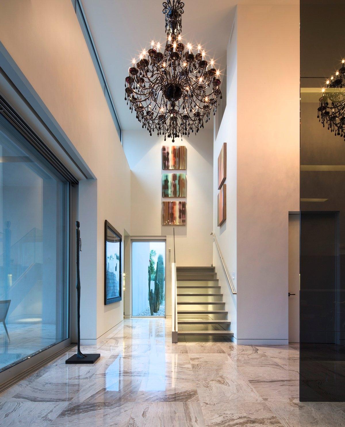 Modern Stairs Hallway Dark Chandelier Mid Century Modern Home Throughout Chandeliers For Hallways (#12 of 12)