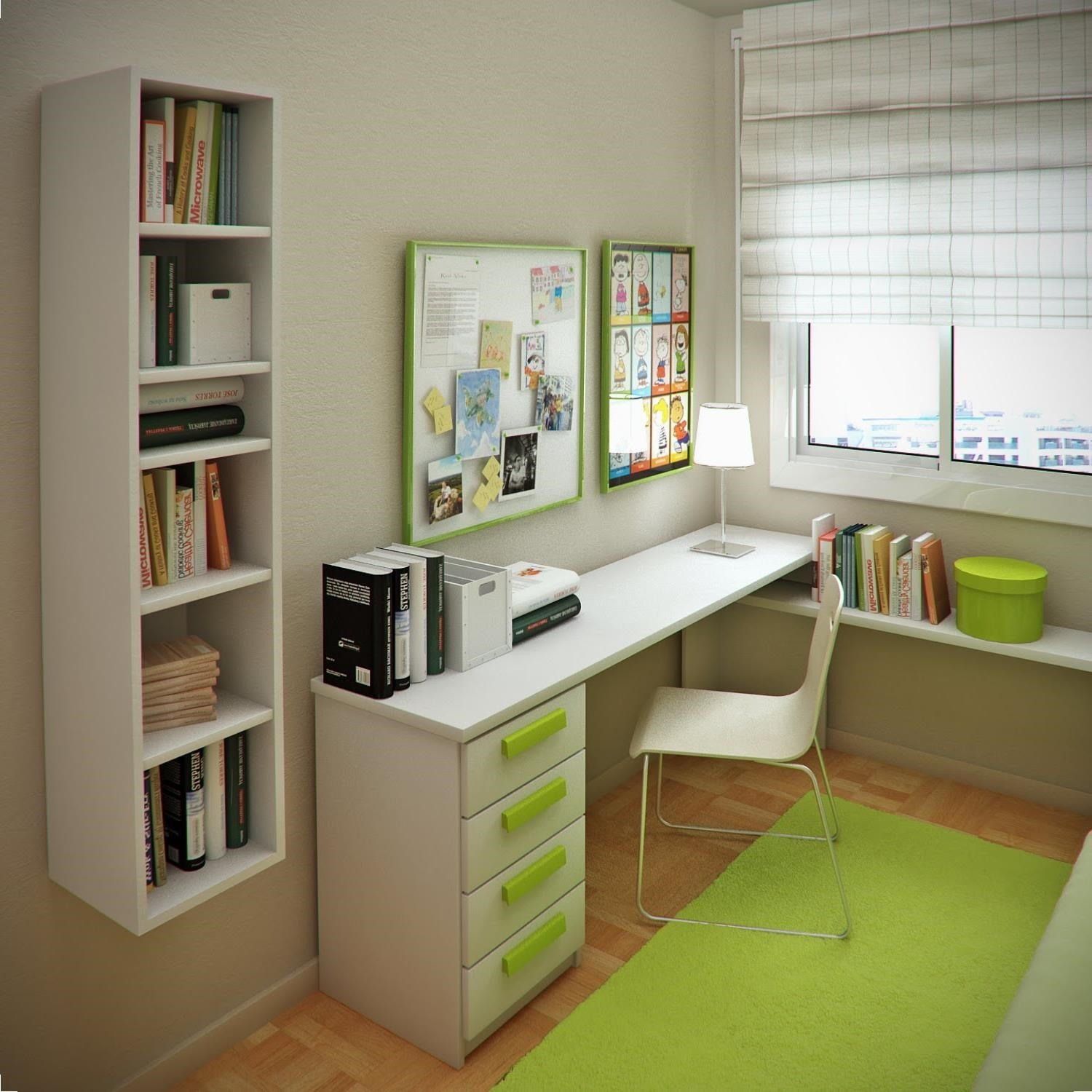 Modern Study Table With Bookshelf 15001500 Little Office For Desk 10