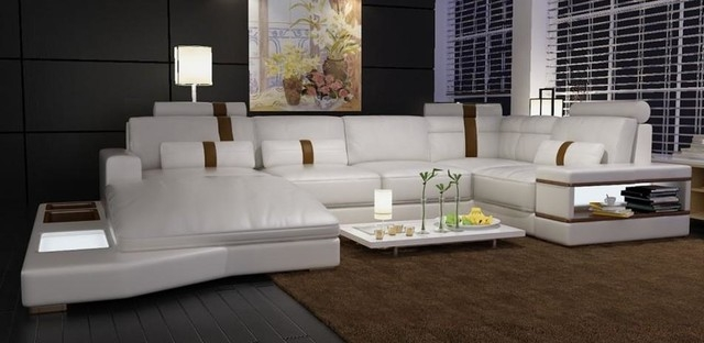 Modern White Bonded Leather Sectional Sofa With Built In Lights Throughout Sofas With Lights (#15 of 15)