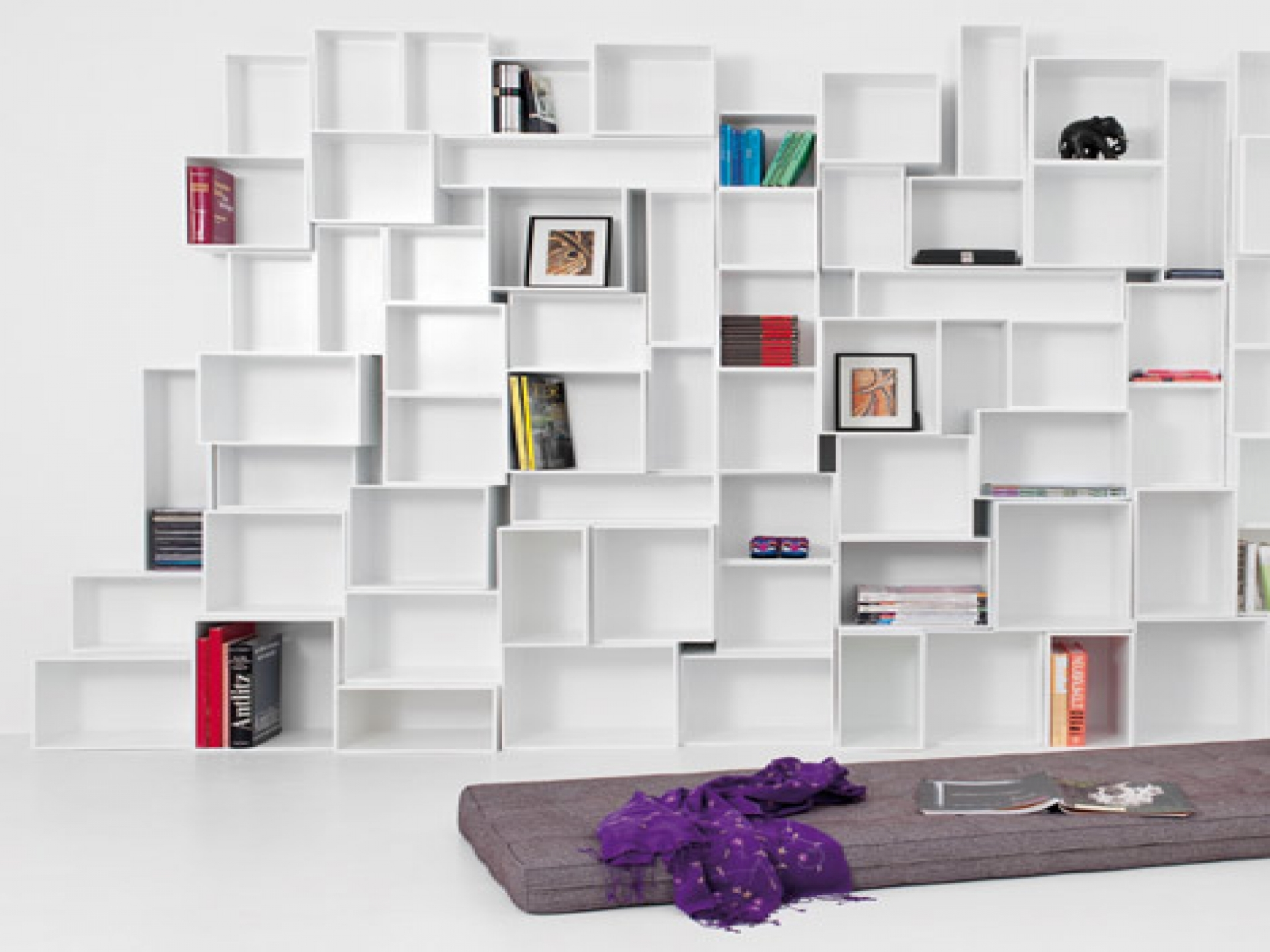 Modern White Bookshelves Pertaining To Large Bookshelf Units (#11 of 15)