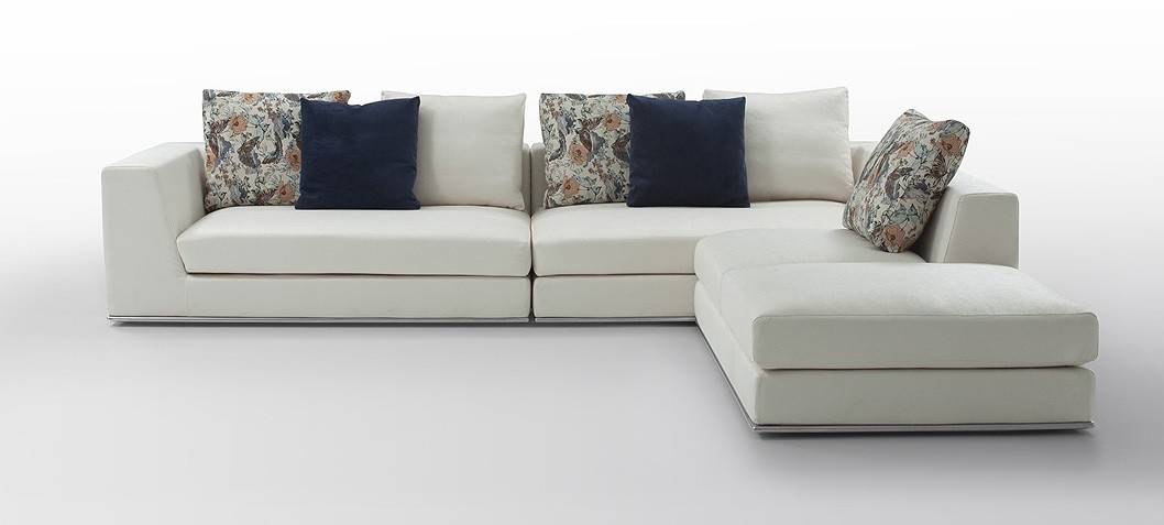 Modern White Fabric Sectional Sofa In White Fabric Sofas (#9 of 15)