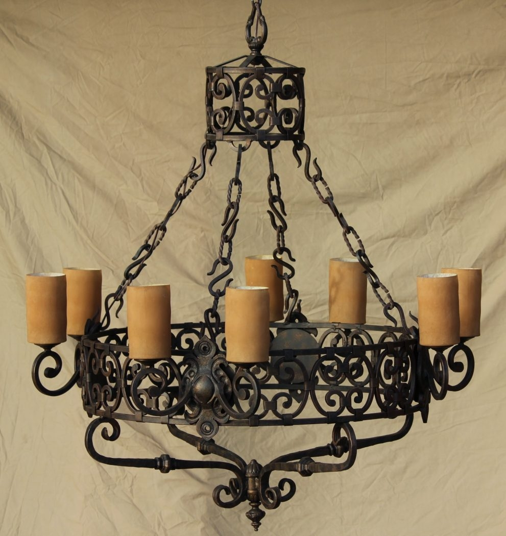 Modern Wrought Iron Chandeliers Mexican 76 Wrought Iron Pertaining To Modern Wrought Iron Chandeliers (#8 of 12)