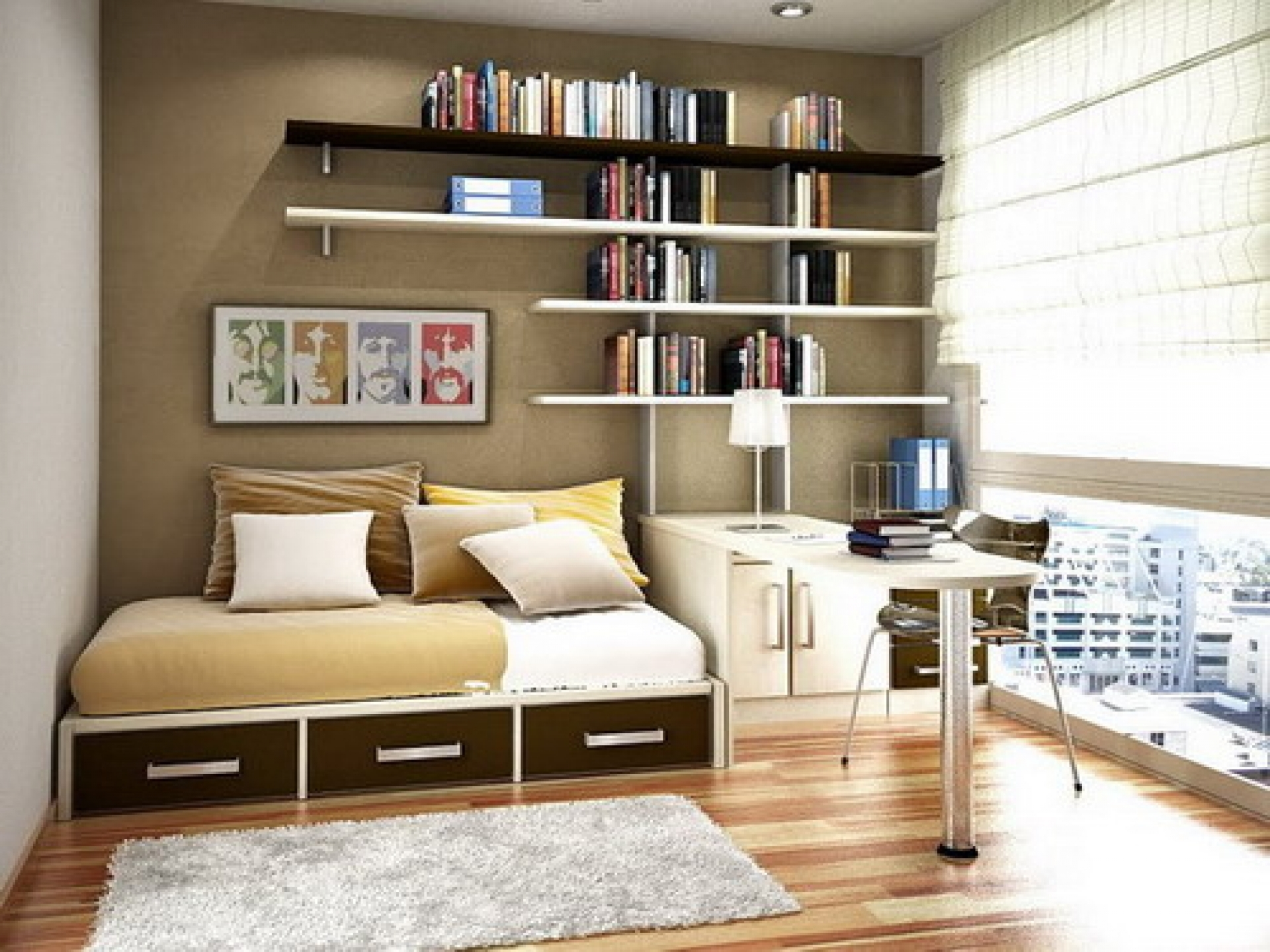 Modish Floating Bookshelves Over Sleeper Couch Storage And Throughout Study Bookshelves (#11 of 15)