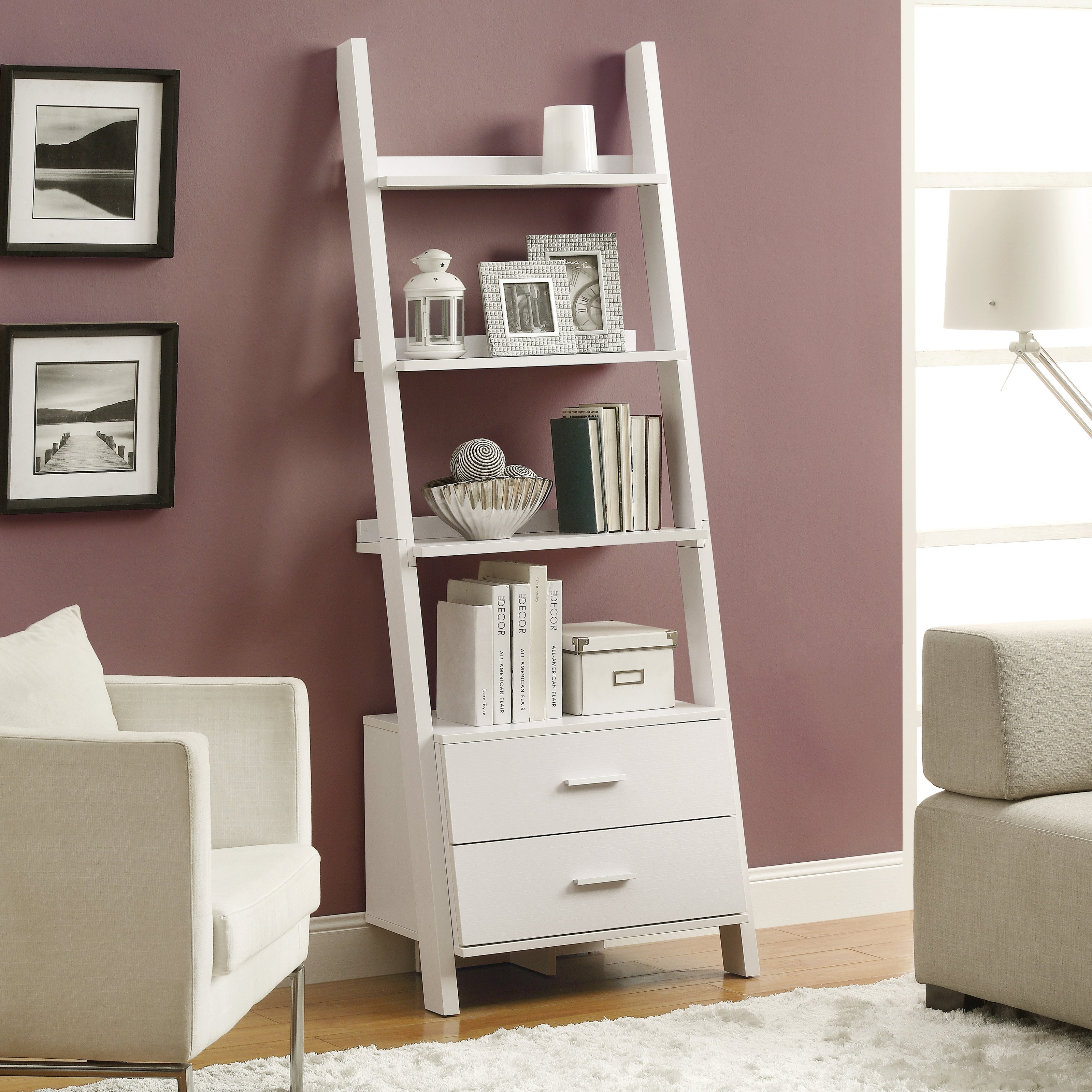 Monarch Bookcase 69h White Ladder With 2 Storage Drawers Regarding White Ladder Shelf (View 6 of 15)