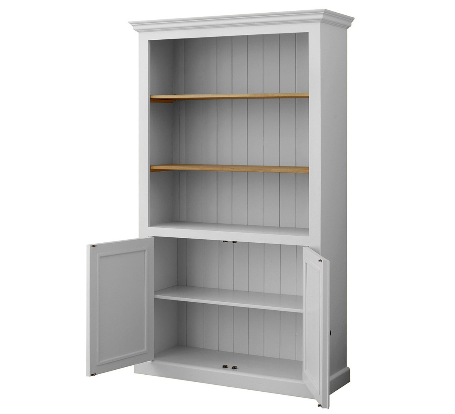 Mottisfont Solid Pine Painted 2 Door Open Bookcase In 3 Sizes Intended For Cupboard Bookcase (#7 of 15)